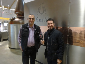 Whisky a Day interviewing head distiller Herr Fink for Stuttgart's Die Neue 107.7 radio station.